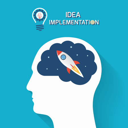 implementation: Idea implementation and startup business concept. Human head with brain and rocket. Infographic template. Vector illustration.