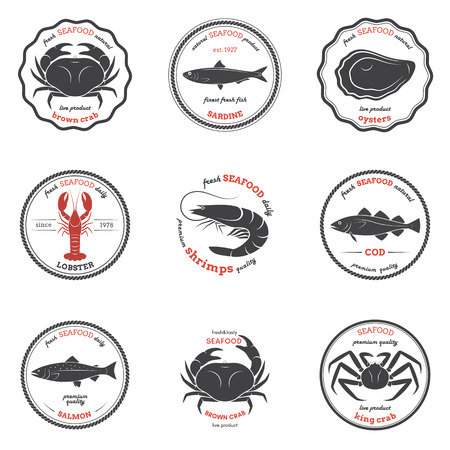 brown trout: Vector seafood silhouettes, labels, emblems. Set of templates for stores, markets, food packaging. Seafood illustration. Illustration