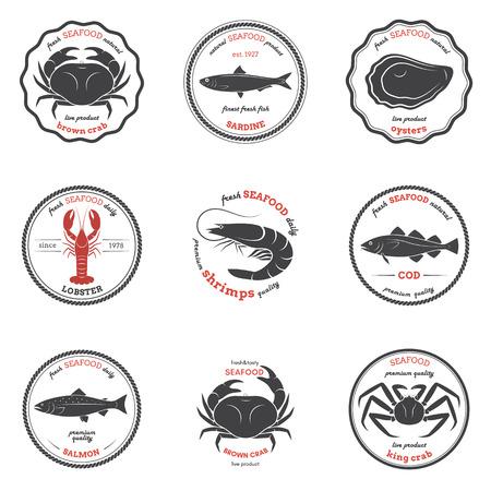 Vector seafood silhouettes, labels, emblems. Set of templates for stores, markets, food packaging. Seafood illustration. Векторная Иллюстрация