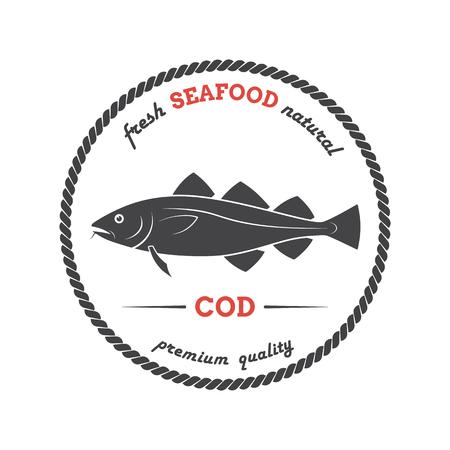 Vector cod silhouette. Cod etichetta. Modello per negozi, mercati, imballaggi per alimenti. Seafood illustrazione.