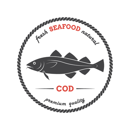 Vector cod silhouette. Cod label. Template for stores, markets, food packaging. Seafood illustration.