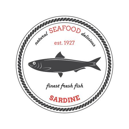Vector sardine silhouette. Etichetta sardina. Modello per negozi, mercati, imballaggi per alimenti. Seafood illustrazione.