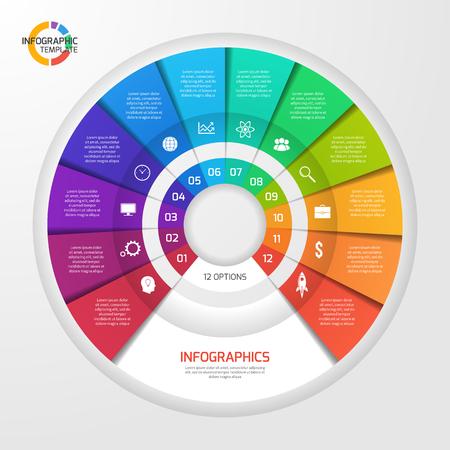 Vector cirkel infografisch sjabloon voor grafieken, diagrammen, diagrammen. Cirkeldiagramconcept met 12 opties, onderdelen, stappen, processen. Vector Illustratie