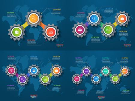 Vector conjunto de plantillas de infografía con los engranajes y el mapa del mundo. Comercio y la industria concepto con opciones, partes, etapas, procesos.