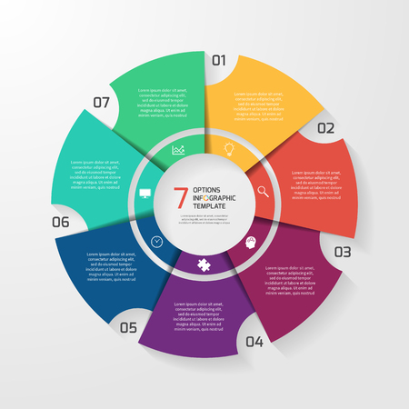 Vector circle infographic template for graphs, charts, diagrams. Pie chart concept with 7 options, parts, steps, processes.