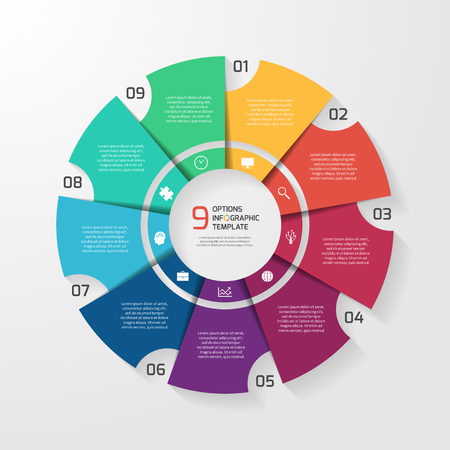 Vector circle infographic template for graphs, charts, diagrams. Pie chart concept with 9 options, parts, steps, processes. Stock fotó - 59004839