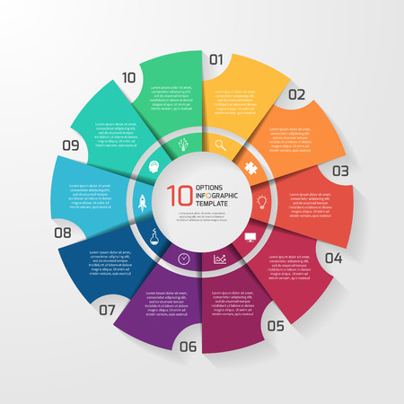 Vector circle infographic template for graphs, charts, diagrams. Pie chart concept with 10 options, parts, steps, processes. Vectores