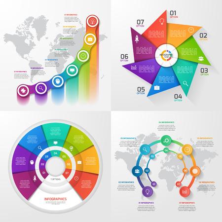 4 ベクター インフォ グラフィック テンプレートのセット。ビジネス、教育、産業、7 の値、オプション、部品、手順、プロセスの科学概念。