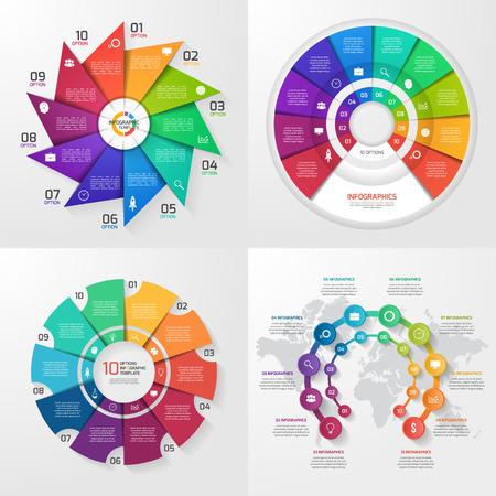 Set of four vector infographic templates. Business, education, industry, science concept with 10 values, options, parts, steps, processes. Illusztráció