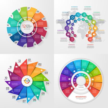 4 개의 벡터 infographic 템플릿 집합입니다. 12 가지 가치, 옵션, 부품, 단계, 프로세스가 포함 된 비즈니스, 교육, 산업, 과학 개념.