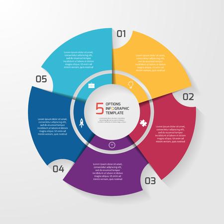 Vector circle infographic template for graphs, charts, diagrams. Pie chart concept with 5 options, parts, steps, processes. Ilustração