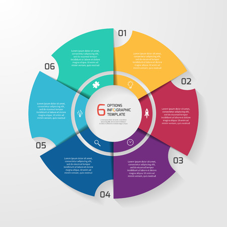Vector circle infographic template for graphs, charts, diagrams. Pie chart concept with 6 options, parts, steps, processes.