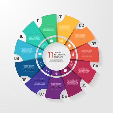 벡터 동그라미 그래프, 차트, 다이어그램에 대 한 infographic 템플릿입니다. 11 옵션, 부품, 단계, 프로세스와 원형 차트 개념.