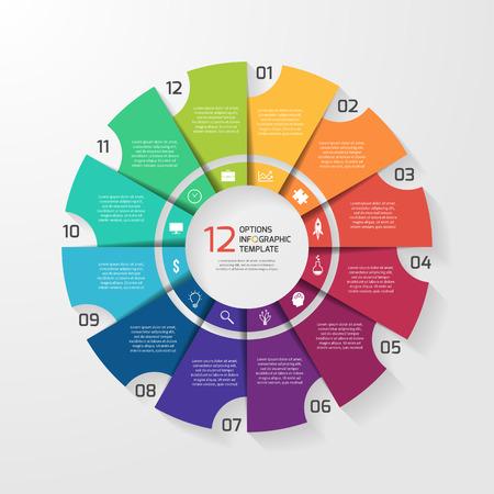 Modello di infografica del cerchio vettoriale per grafici, grafici, diagrammi. Concetto di grafico a torta con 12 opzioni, parti, fasi, processi.