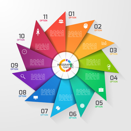 Windmill style circle infographic template for graphs, charts, diagrams. Business, education and industry concept with 11 options, parts, steps, processes.