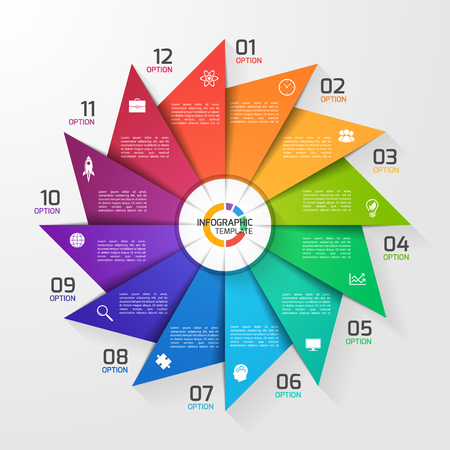 12 step: Windmill style circle infographic template for graphs, charts, diagrams. Business, education and industry concept with 12 options, parts, steps, processes. Illustration