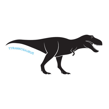 Tyrannosaurus 실루엣 아이콘 엠 블 럼 흰색 배경입니다. T- 렉스 벡터 일러스트 레이 션.