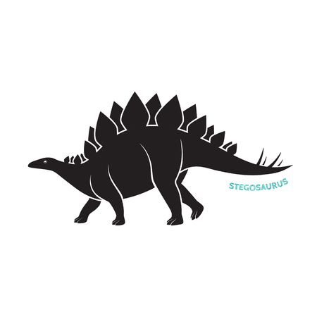 Stegosaurus silhouette icon emblem on white backgound. Vector illustration.