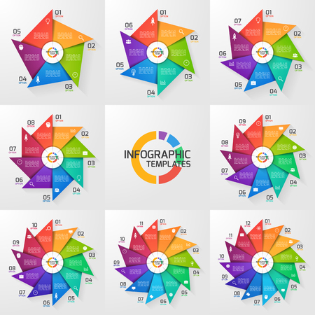 Windmill style circle infographic set of templates for graphs, charts, diagrams. Business, education and industry concept with 5-12 options, parts, steps, processes. Иллюстрация
