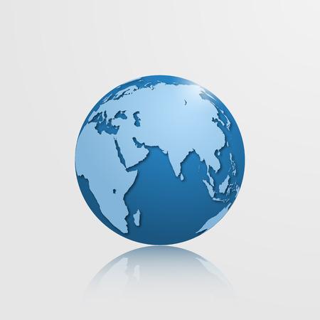 eurasia: High detailed vector globe with Eurasia, Oceania and Africa. Vector illustration.