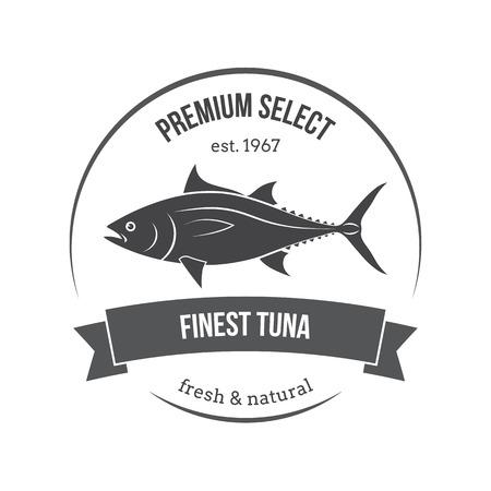 dorado: Vector tuna emblem, label. Template for stores, markets, food packaging. Seafood illustration.