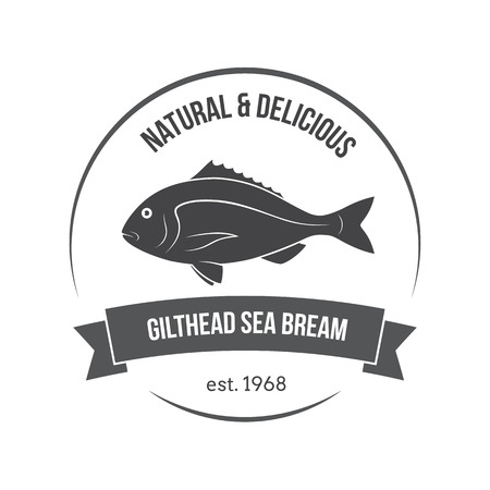 Vector gilthead sea bream, sparus aurata, dorado emblem, label. Template for stores, markets, food packaging. Seafood illustration. Ilustracja