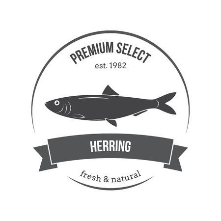 herring: Vector herring emblem, label. Template for stores, markets, food packaging. Seafood illustration. Illustration