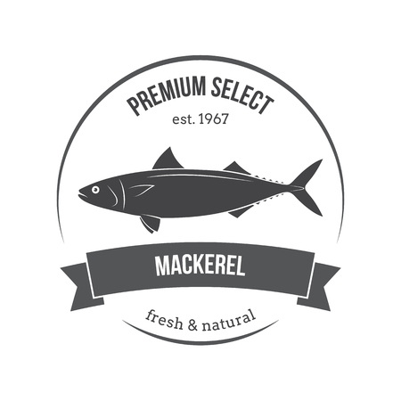 salmon fishery: Vector mackerel, scomber emblem, label. Template for stores, markets, food packaging. Seafood illustration.