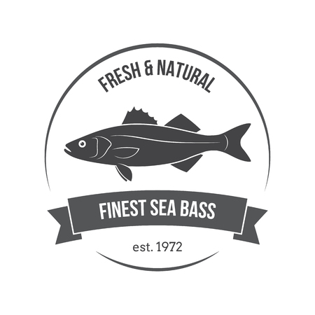sea bass: Vector sea bass, labrax, branzino label. Template for stores, markets, food packaging. Seafood illustration. Illustration
