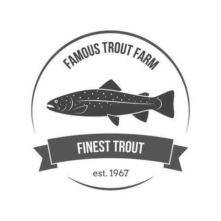 rainbow trout: Vector trout emblem, label. Template for clubs, farms, stores, markets, food packaging.