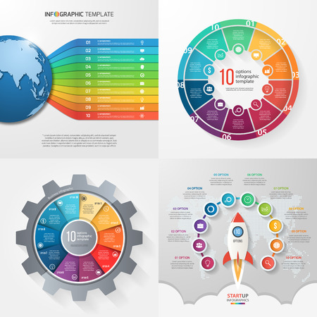 Four infographic templates with 10 steps, options, parts, processes. Business concept. Illustration