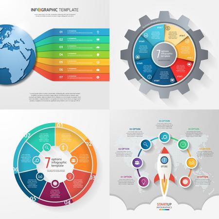 7 단계, 옵션, 부품, 프로세스가 포함 된 네 개의 인포 그래픽 템플릿. 비즈니스 개념입니다.
