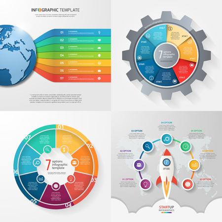 Four infographic templates with 7 steps, options, parts, processes. Business concept. Stock fotó - 60415217