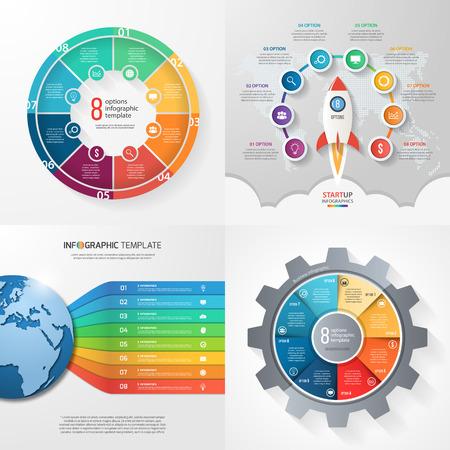 mapa de procesos: Four infographic templates with 8 steps, options, parts, processes. Business concept.