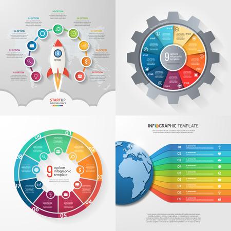 9 단계, 옵션, 부품, 프로세스가 포함 된 네 가지 infographic 템플릿. 비즈니스 개념입니다.