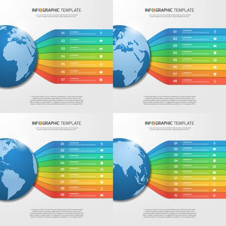 7 8: Infographic templates with globe with 7, 8, 9, 10 options, parts, steps, processes for graphs, charts, diagrams. Business, education, travel and transportation concept