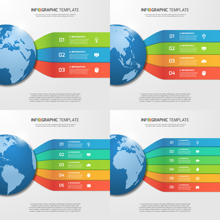 5 6: Infographic templates with globe with 3, 4, 5, 6 options, parts, steps, processes for graphs, charts, diagrams. Business, education, travel and transportation concept. Illustration