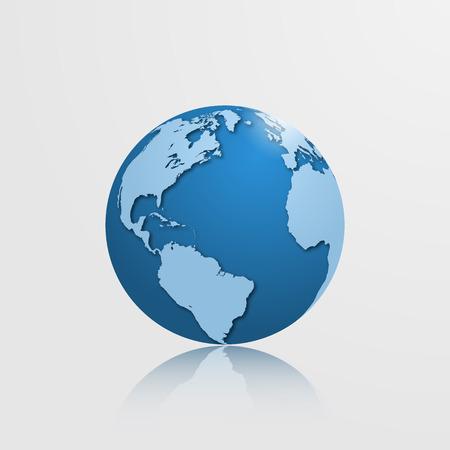 Alta mundo detallado con América del Norte, América del Sur, Europa y África. Ilustración del vector.