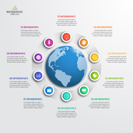 Circle infographic template with globe with 10 options. Business concept. illustration.