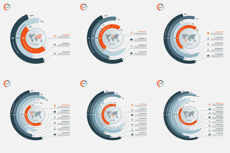 Set of circle infographic templates with 3-8 options. Business concept. illustration.