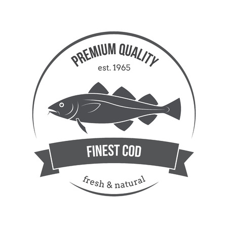 fisheries: cod fish emblem, label. Template for stores, markets, food packaging. Seafood illustration.