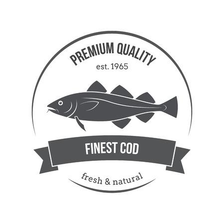 kabeljauw embleem, label. Sjabloon voor winkels, markten, de verpakking van levensmiddelen. Seafood illustratie. Stock Illustratie
