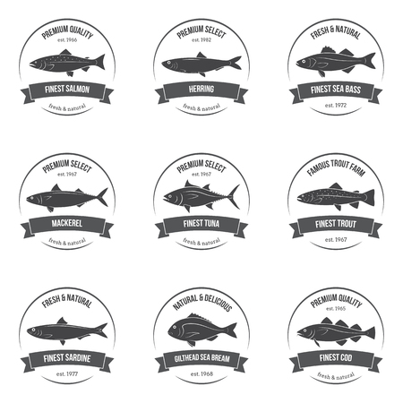 fish silhouettes, labels, emblems. Salmon, herring, sea bass, mackerel, tuna, trout, sardine, sea bream, cod. Set of templates for stores, markets, food packaging. Seafood illustration.