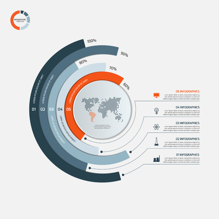 Circle infographic template with 5 options. Business concept. illustration. Stock fotó - 60676721