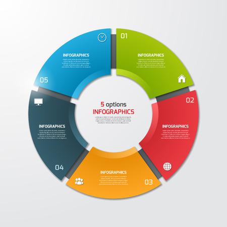Kreisdiagramm Kreis Infografik-Vorlage mit 5 Optionen. Geschäftskonzept. Vektor-Illustration. Standard-Bild - 62145214
