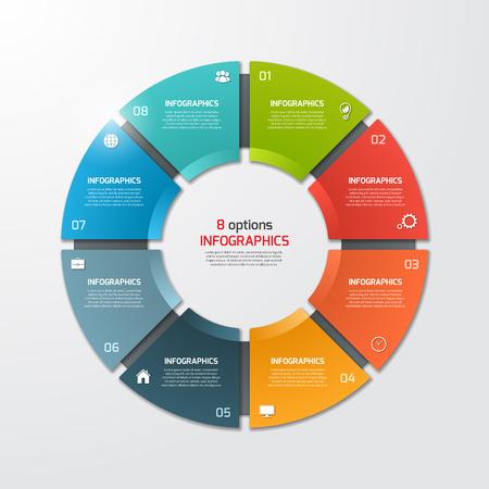 Cirkeldiagram cirkel infographic sjabloon met 8 opties. Business concept. Vector illustratie.