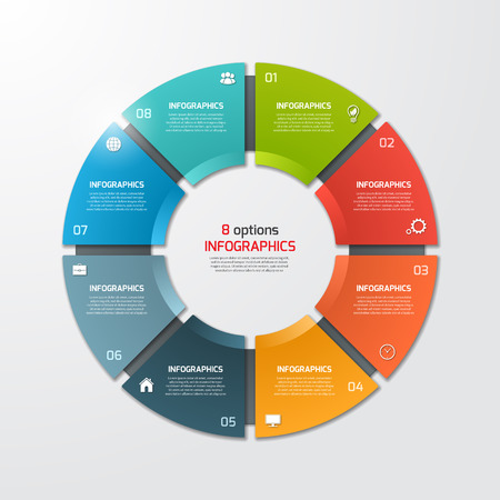 Pie chart circle infographic template with 8 options. Business concept. Vector illustration.