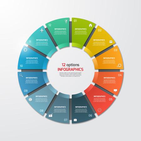 Gráfico de sectores del círculo plantilla de infografía con 12 opciones. Concepto de negocio. Ilustración del vector.