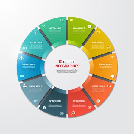 Pie kołowy infografika szablon z 10 opcji. Pomysł na biznes. ilustracji wektorowych.