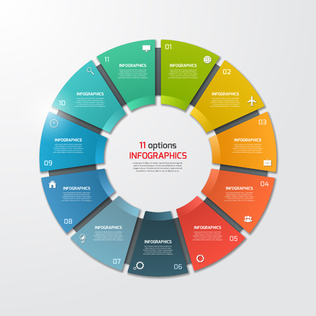 Pie chart circle infographic template with 11 options. Business concept. Vector illustration. Vettoriali